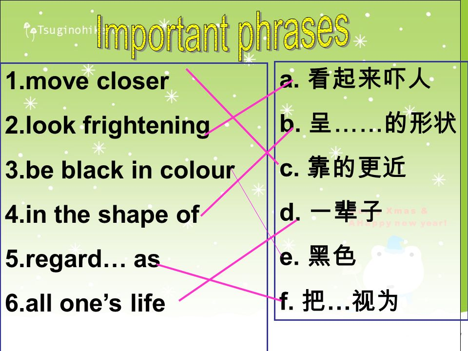 1.move closer 2.look frightening 3.be black in colour 4.in the shape of 5.regard… as 6.all ones life a.