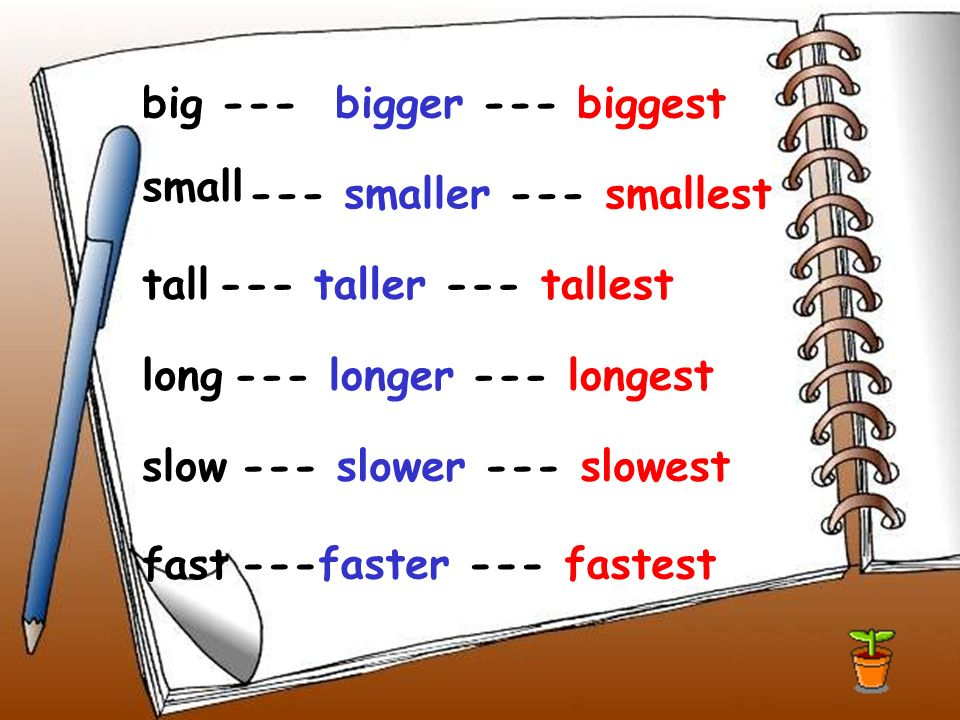 big --- bigger --- biggest tall long small slow fast --- smaller --- smallest --- taller --- tallest --- longer --- longest --- slower --- slowest ---faster --- fastest