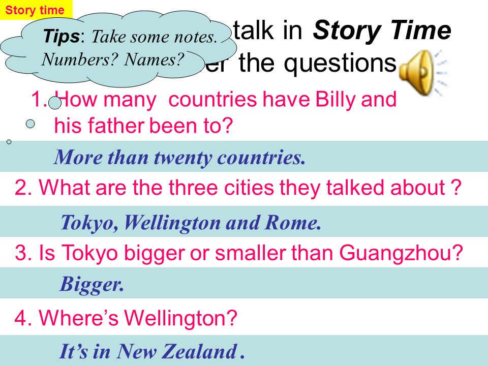 A2 Listen again and fill in the form CapitalCountry Adjectives( Tokyo New Zealand beautiful Japan Wellington Rome Italy interesting, big beautiful Story time