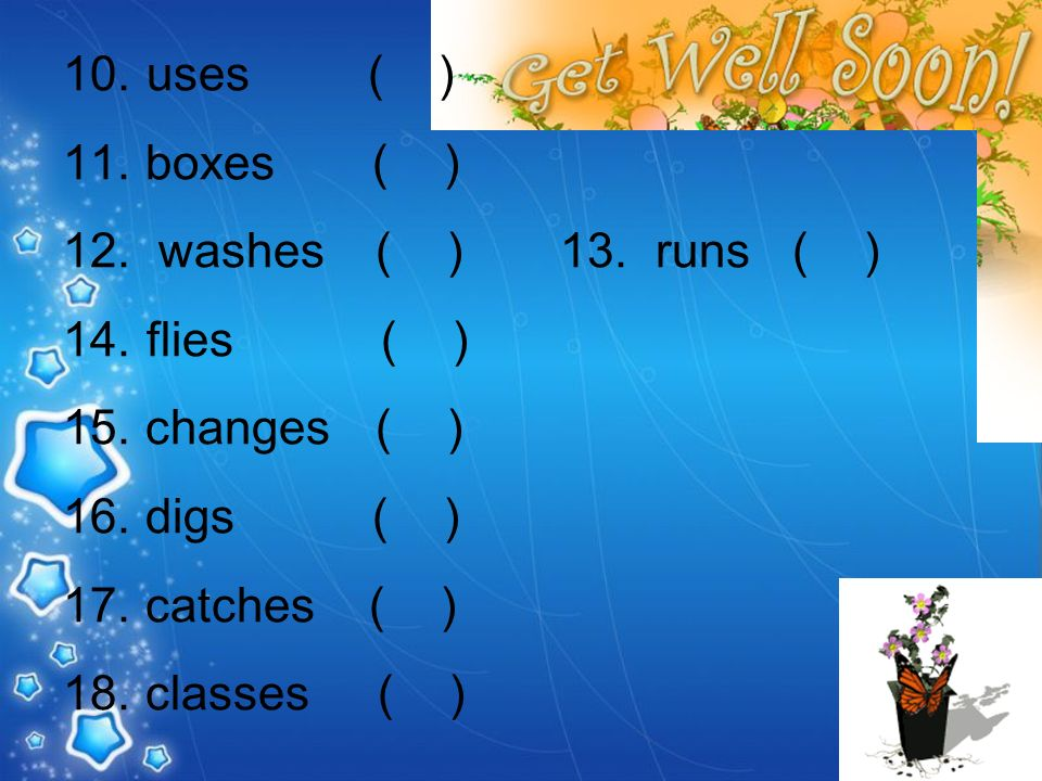 10. uses ( ) 11. boxes ( ) 12. washes( ) 13. runs ( ) 14. flies ( ) 15. changes( ) 16. digs ( ) 17. catches ( ) 18. classes ( )