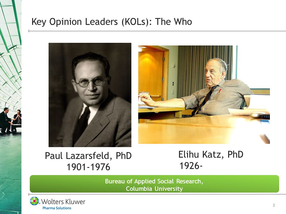 3 Key Opinion Leaders (KOLs): The Who Bureau of Applied Social Research, Columbia University Paul Lazarsfeld, PhD Elihu Katz, PhD 1926-