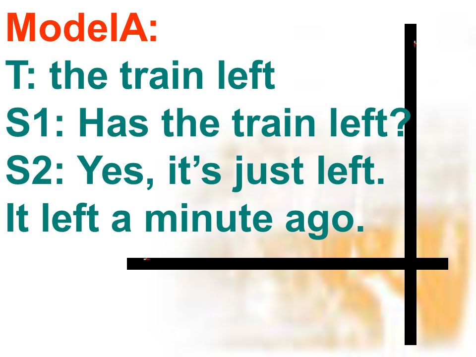 ModelA: T: the train left S1: Has the train left S2: Yes, its just left. It left a minute ago.