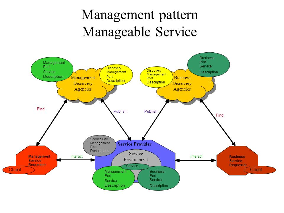 Manager Role Discover y Agencies Discover y Agencies Service Requestor Service Provider Service Find Service Description Service Description Interact Publish Manager Client