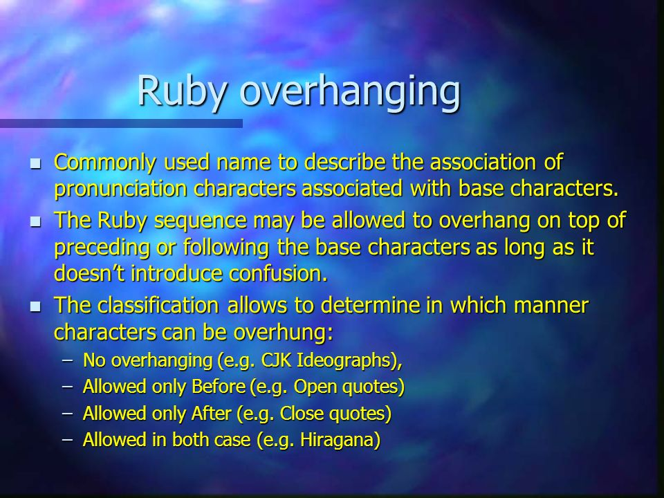 Ruby overhanging n Commonly used name to describe the association of pronunciation characters associated with base characters.