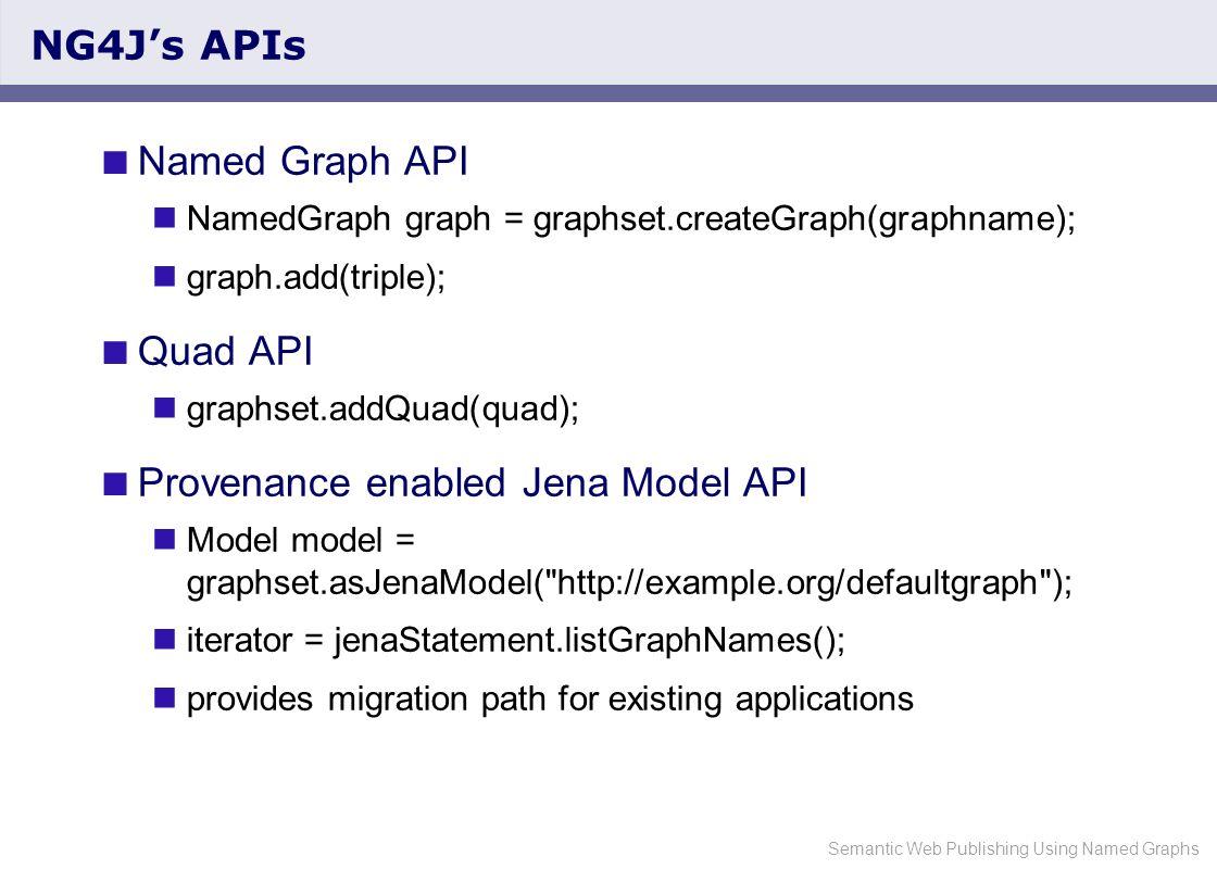 Semantic Web Publishing Using Named Graphs NG4Js APIs Named Graph API NamedGraph graph = graphset.createGraph(graphname); graph.add(triple); Quad API graphset.addQuad(quad); Provenance enabled Jena Model API Model model = graphset.asJenaModel( http://example.org/defaultgraph ); iterator = jenaStatement.listGraphNames(); provides migration path for existing applications