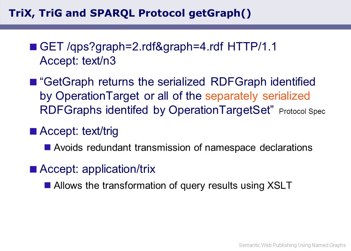 Semantic Web Publishing Using Named Graphs SPARQL Protocol getGraph() and Wildcards Our experience: Repositories quickly fill with hundreds of graphs.
