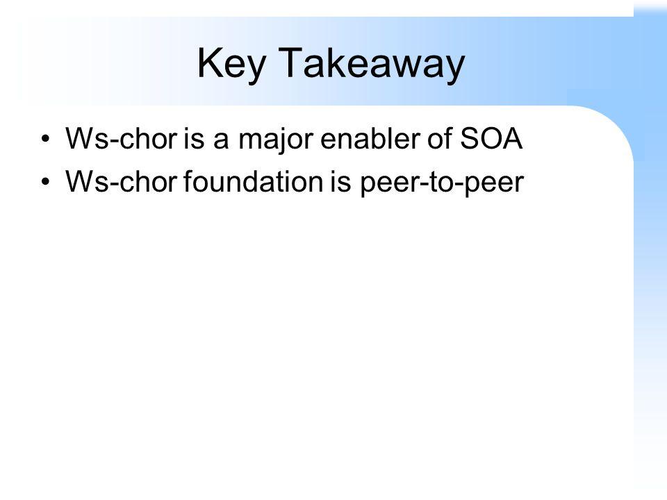 Key Takeaway Ws-chor is a major enabler of SOA Ws-chor foundation is peer-to-peer