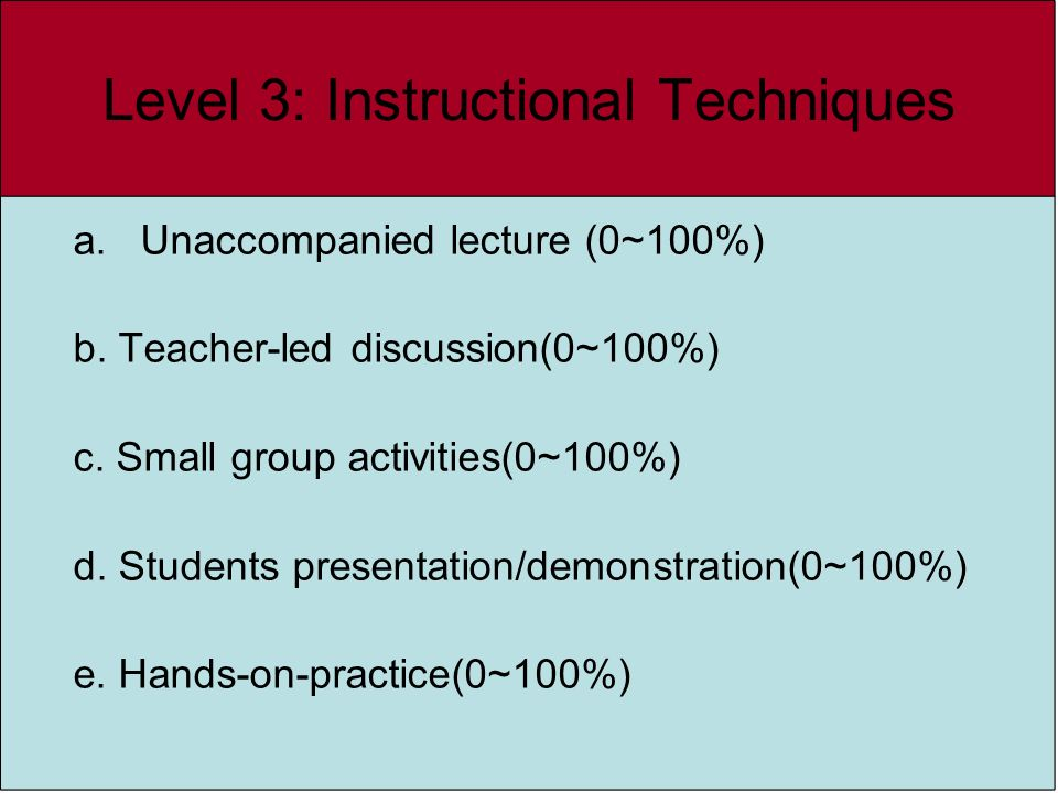 a.Unaccompanied lecture (0~100%) b. Teacher-led discussion(0~100%) c. Small group activities(0~100%) d. Students presentation/demonstration(0~100%) e.