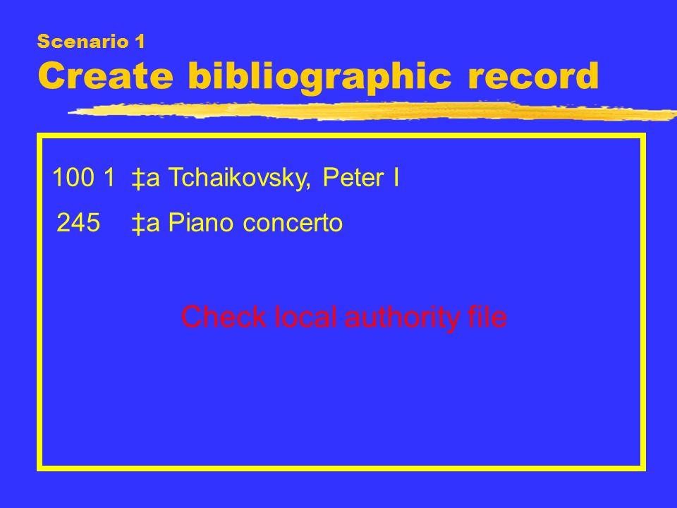 Scenario 1 Create bibliographic record 100 1 a Tchaikovsky, Peter I 245 a Piano concerto Check local authority file