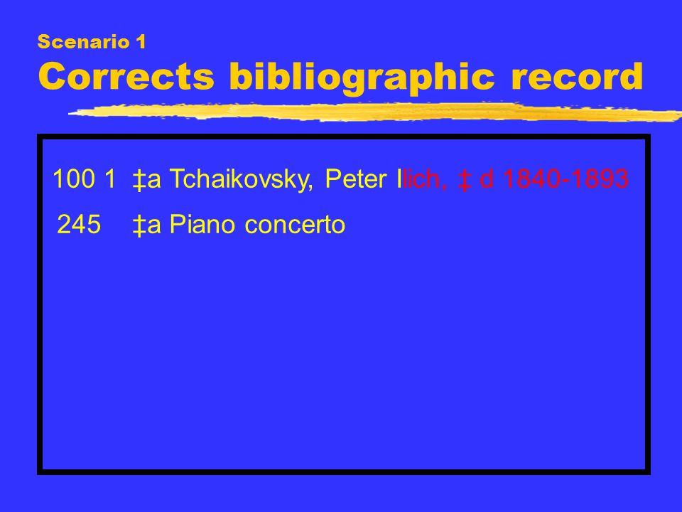 Scenario 1 Corrects bibliographic record 100 1 a Tchaikovsky, Peter Ilich, d 1840-1893 245 a Piano concerto