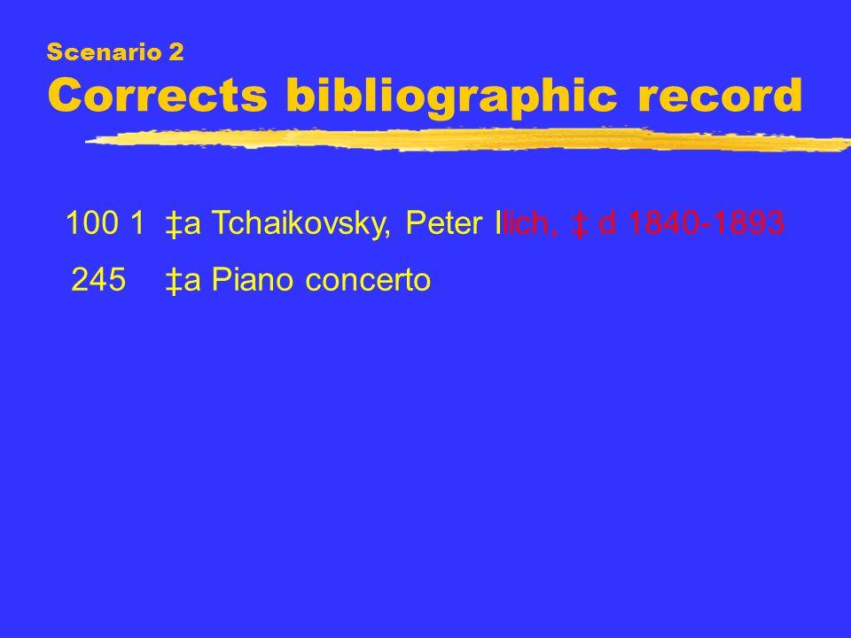 Scenario 2 Corrects bibliographic record 100 1 a Tchaikovsky, Peter Ilich, d 1840-1893 245 a Piano concerto