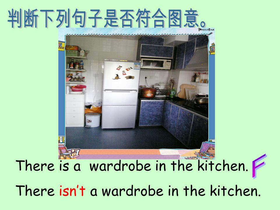 There is a wardrobe in the kitchen. There isnt a wardrobe in the kitchen.