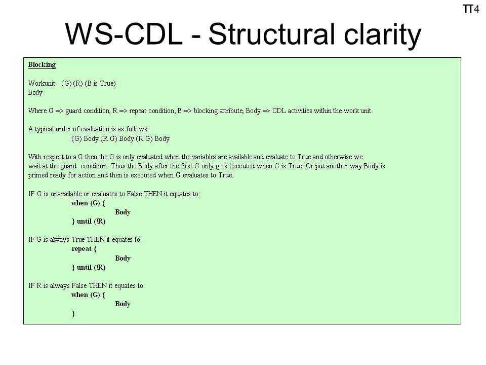 π4π4 WS-CDL - Structural clarity