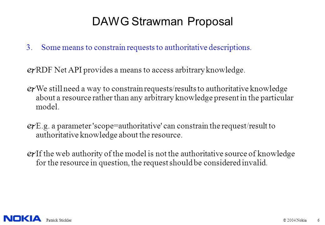7Patrick Stickler © 2004 Nokia DAWG Strawman Proposal 4.Input as RDF, using RDFQ as default query language.