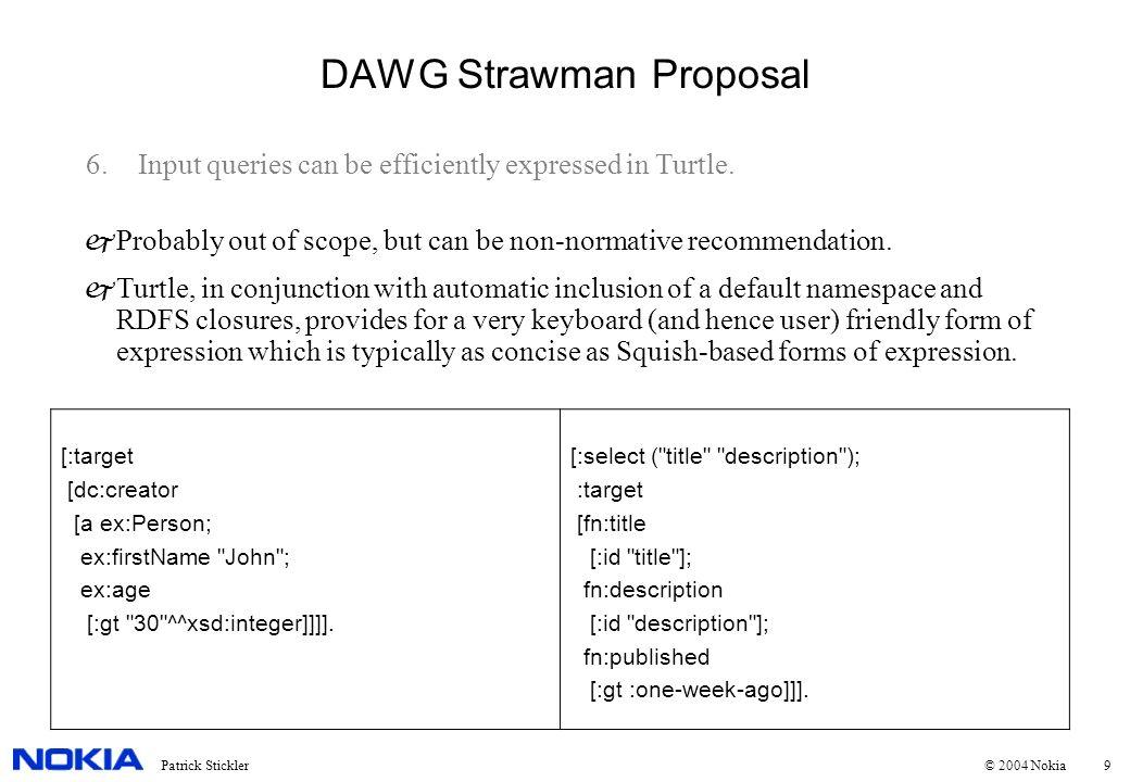 10Patrick Stickler © 2004 Nokia DAWG Strawman Proposal 7.XML queries, transforms, etc.
