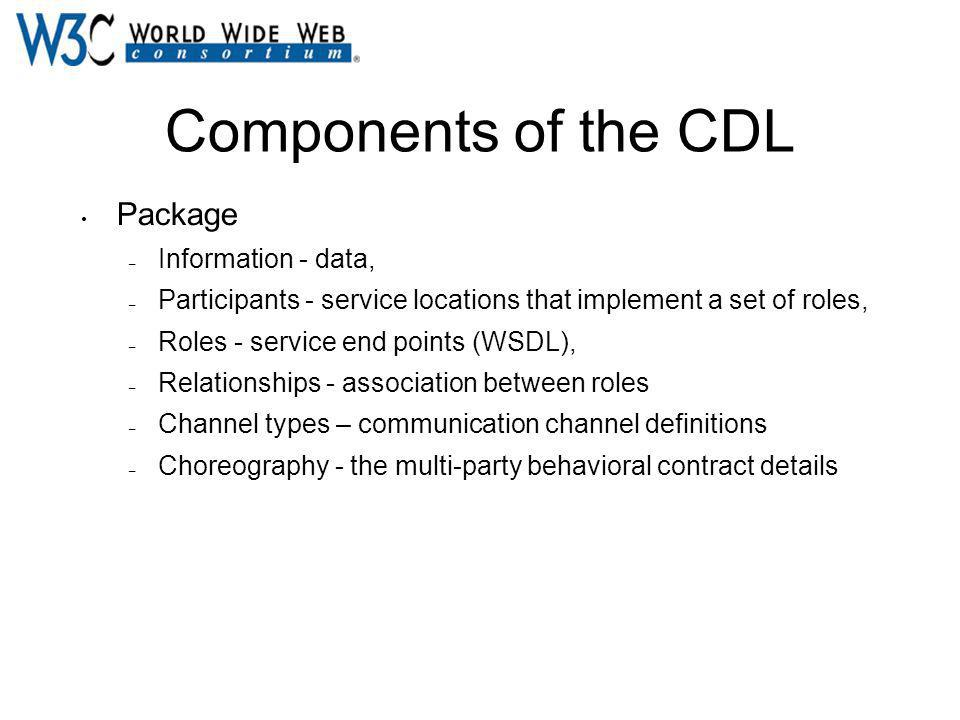 Components of the CDL Package – Information - data, – Participants - service locations that implement a set of roles, – Roles - service end points (WS