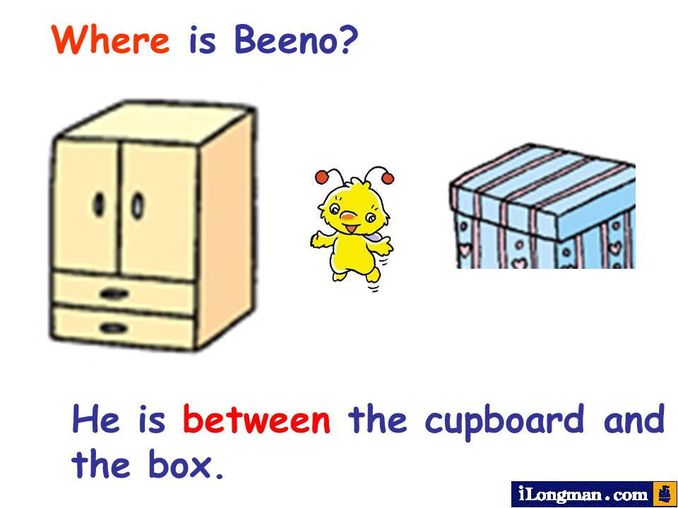 Where is Beeno? He is between the cupboard and the box.