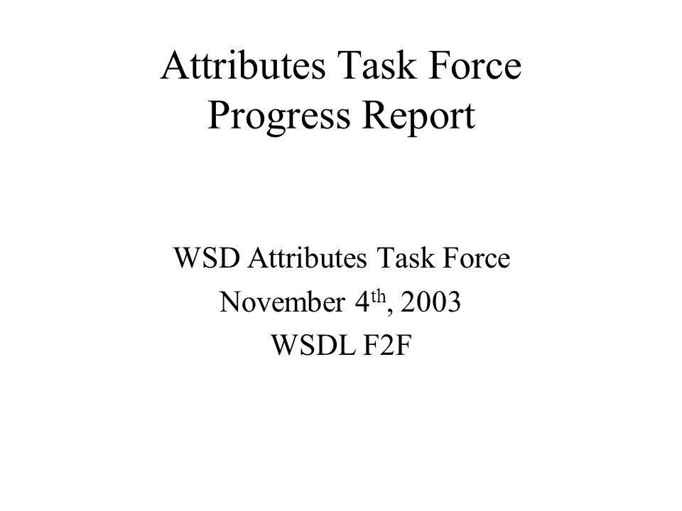 Attributes Task Force Progress Report WSD Attributes Task Force November 4 th, 2003 WSDL F2F