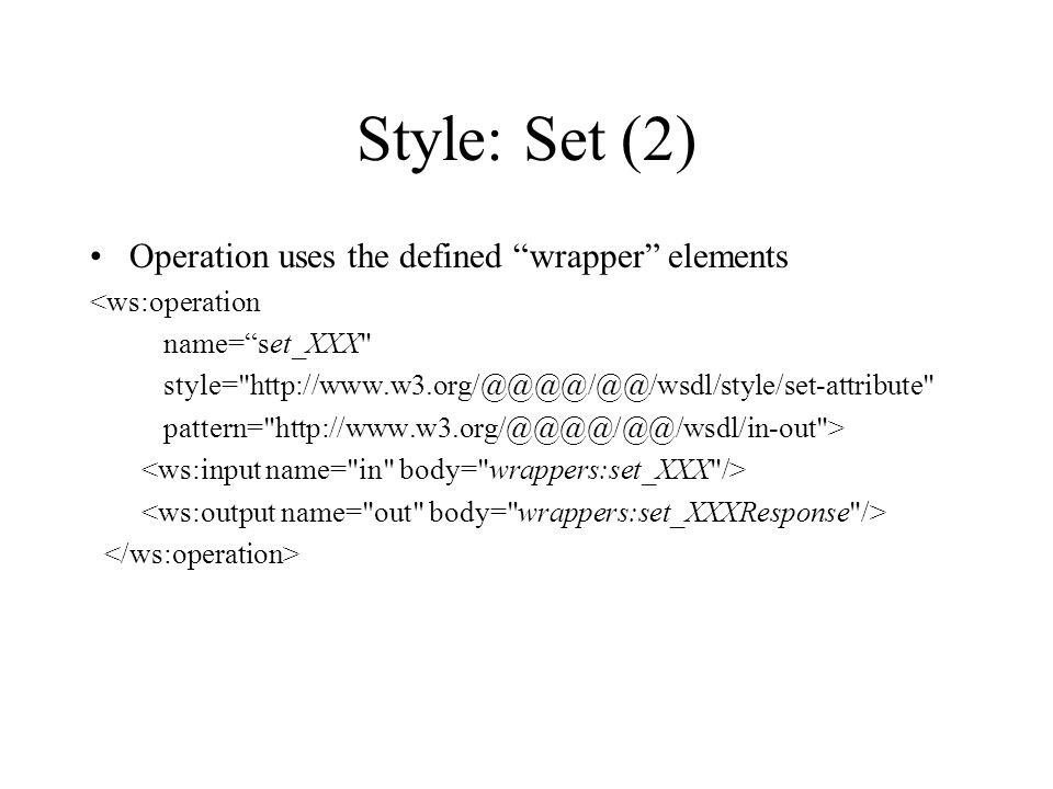 Style: Set (2) Operation uses the defined wrapper elements <ws:operation name=set_XXX style= http://www.w3.org/@@@@/@@/wsdl/style/set-attribute pattern= http://www.w3.org/@@@@/@@/wsdl/in-out >