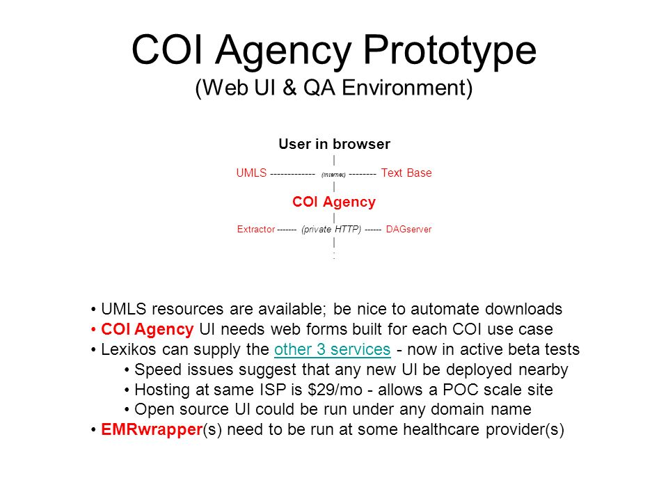 COI Agency Prototype (Web UI & QA Environment) User in browser | UMLS ------------- (internet) -------- Text Base | COI Agency | Extractor ------- (private HTTP) ------ DAGserver | : UMLS resources are available; be nice to automate downloads COI Agency UI needs web forms built for each COI use case Lexikos can supply the other 3 services - now in active beta testsother 3 services Speed issues suggest that any new UI be deployed nearby Hosting at same ISP is $29/mo - allows a POC scale site Open source UI could be run under any domain name EMRwrapper(s) need to be run at some healthcare provider(s)