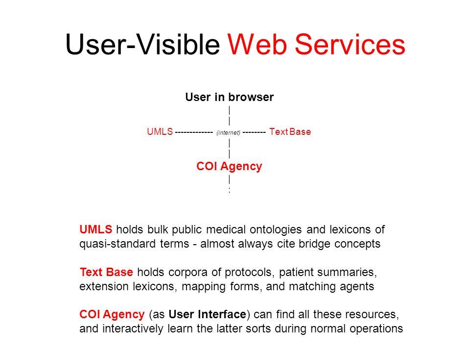 User-Visible Web Services User in browser | UMLS ------------- (internet) -------- Text Base | COI Agency | : UMLS holds bulk public medical ontologie