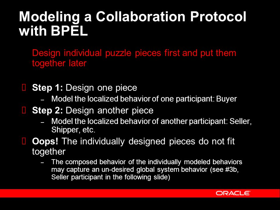 Modeling a Collaboration Protocol with BPEL Design individual puzzle pieces first and put them together later Step 1: Design one piece – Model the localized behavior of one participant: Buyer Step 2: Design another piece – Model the localized behavior of another participant: Seller, Shipper, etc.