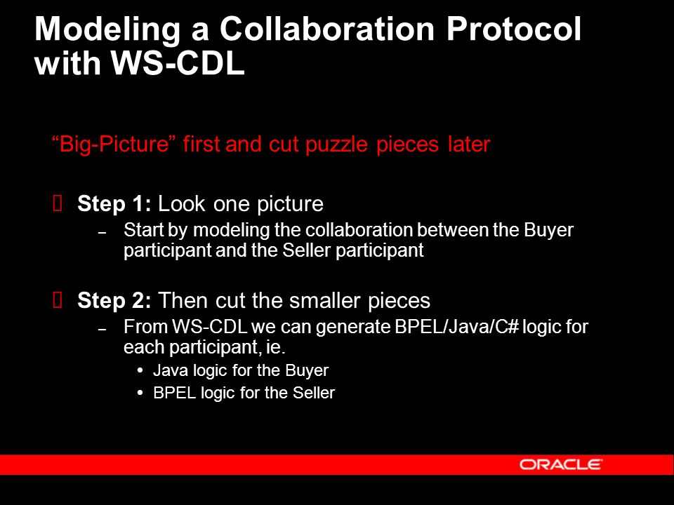 Modeling a Collaboration Protocol with WS-CDL Big-Picture first and cut puzzle pieces later Step 1: Look one picture – Start by modeling the collaboration between the Buyer participant and the Seller participant Step 2: Then cut the smaller pieces – From WS-CDL we can generate BPEL/Java/C# logic for each participant, ie.