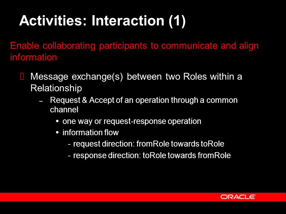 Activities: Interaction (1) Message exchange(s) between two Roles within a Relationship – Request & Accept of an operation through a common channel one way or request-response operation information flow ­request direction: fromRole towards toRole ­response direction: toRole towards fromRole Enable collaborating participants to communicate and align information