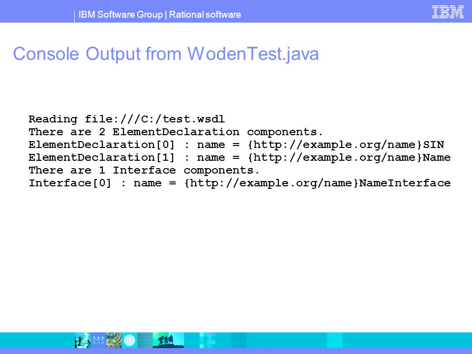 Console Output from WodenTest.java Reading file:///C:/test.wsdl There are 2 ElementDeclaration components.