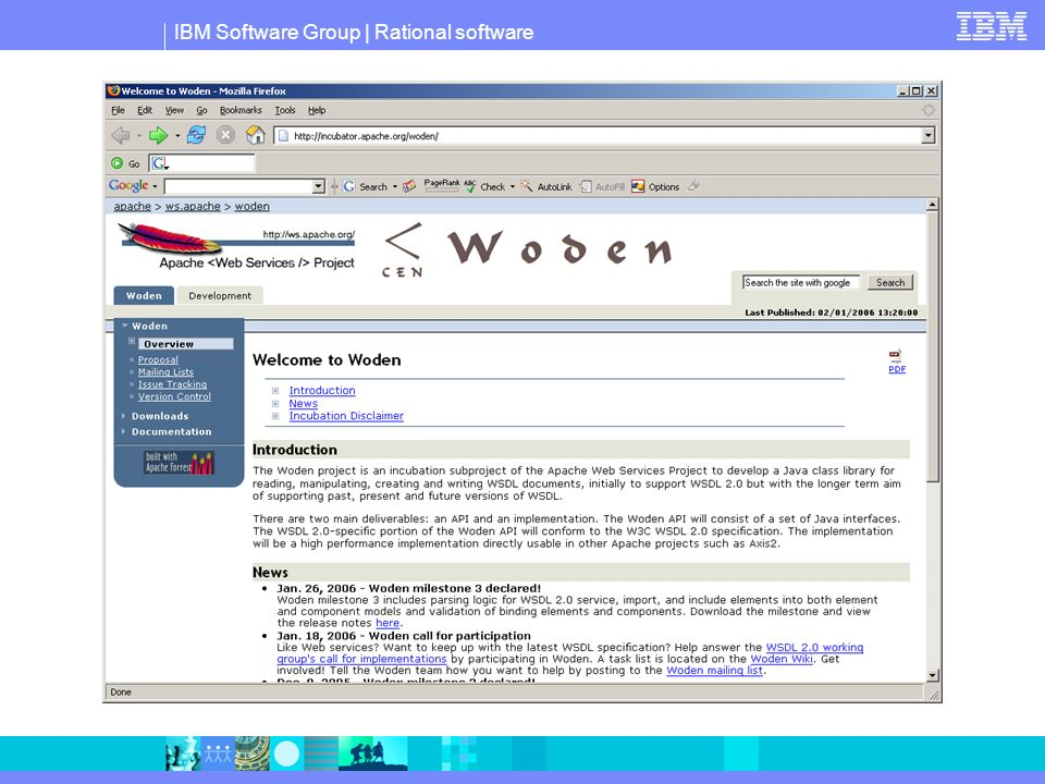Latest Milestone Release Woden 1.0.0 M3 http://cvs.apache.org/dist/ws/woden/milestones/1.0.0M3-incubating/ Parsing of WSDL 2.0 import and include (DOM) WSDL 2.0 Service parsing (DOM) Implement validation logic for Binding Unit tests for validation logic for Binding Integrate W3C WSDL 2.0 Binding tests into Woden test suite Woden Build page lists all milestone builds