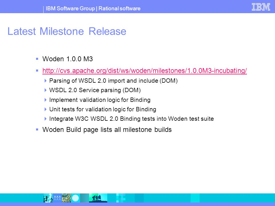 Latest Milestone Release Woden M3   Parsing of WSDL 2.0 import and include (DOM) WSDL 2.0 Service parsing (DOM) Implement validation logic for Binding Unit tests for validation logic for Binding Integrate W3C WSDL 2.0 Binding tests into Woden test suite Woden Build page lists all milestone builds