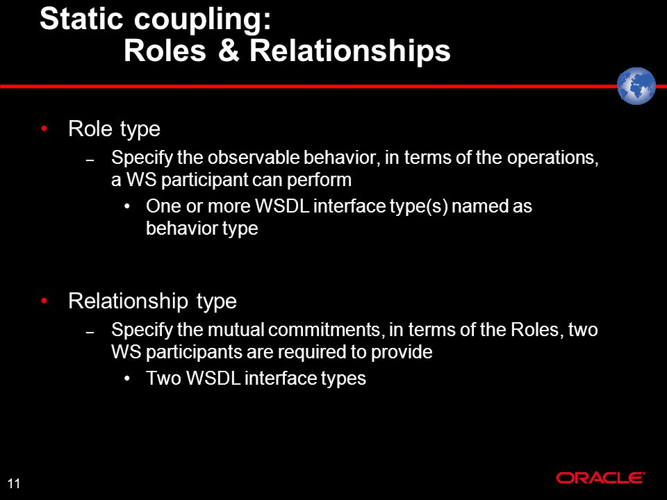 11 Static coupling: Roles & Relationships Role type – Specify the observable behavior, in terms of the operations, a WS participant can perform One or