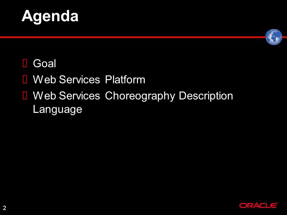 2 Agenda Goal Web Services Platform Web Services Choreography Description Language
