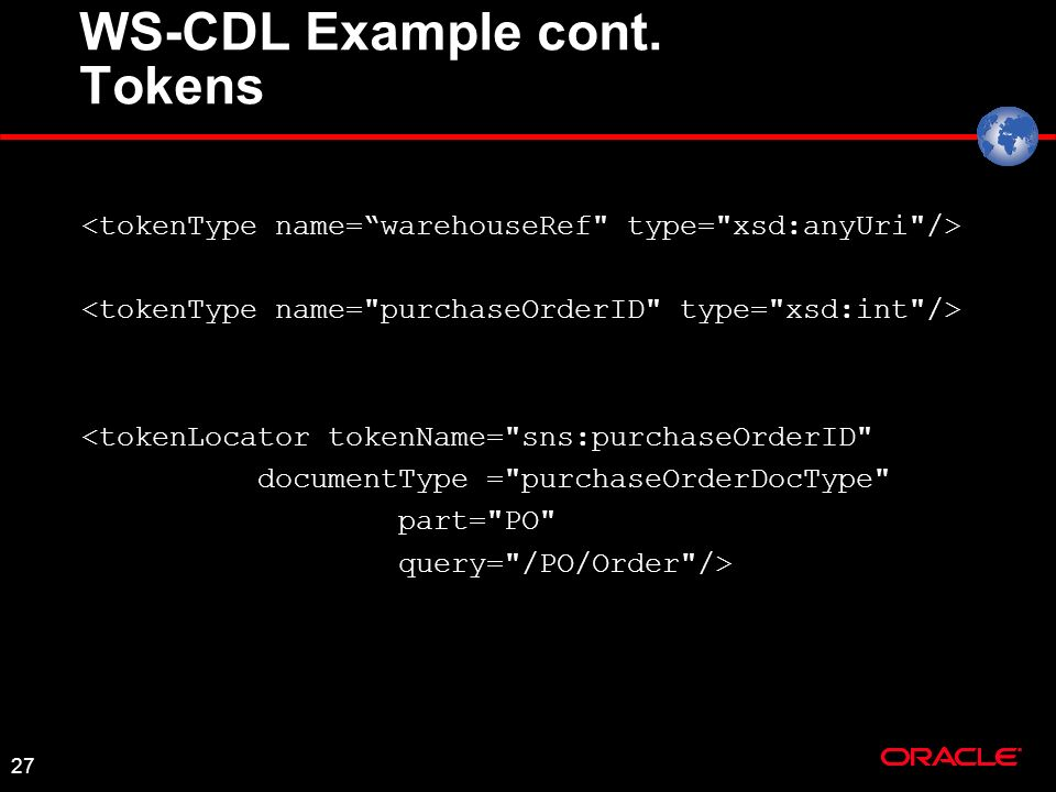 27 WS-CDL Example cont. Tokens <tokenLocator tokenName=