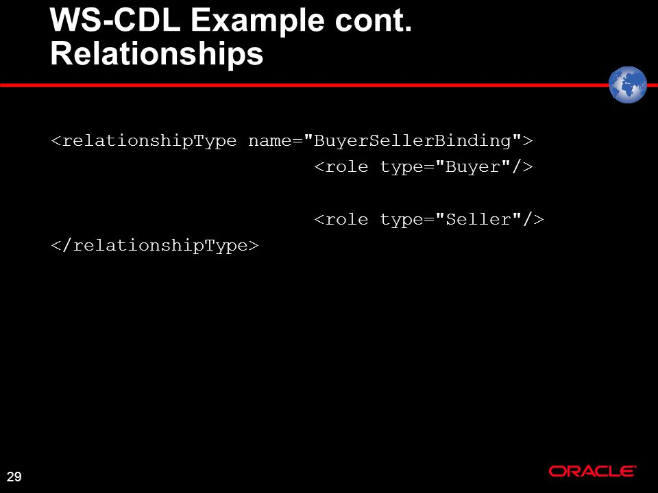 29 WS-CDL Example cont. Relationships