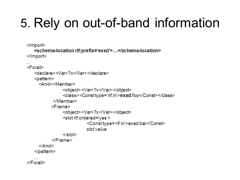 5. Rely on out-of-band information … … x x exsd:foo x exsd:bar slot value …