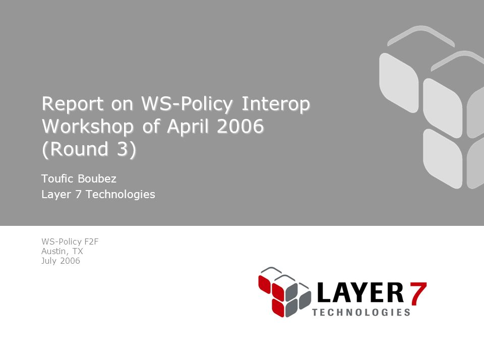 WS-Policy F2F Austin, TX July 2006 Report on WS-Policy Interop Workshop of April 2006 (Round 3) Toufic Boubez Layer 7 Technologies