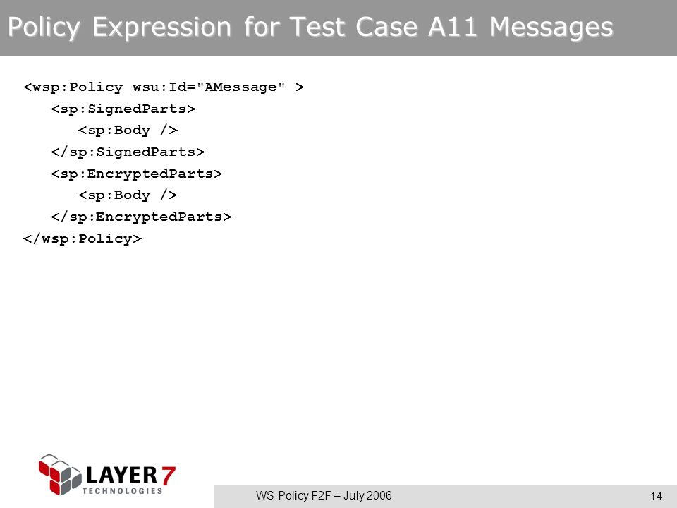 WS-Policy F2F – July 2006 14 Policy Expression for Test Case A11 Messages