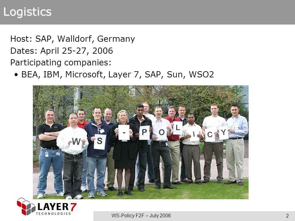 WS-Policy F2F – July 2006 2Logistics Host: SAP, Walldorf, Germany Dates: April 25-27, 2006 Participating companies: BEA, IBM, Microsoft, Layer 7, SAP, Sun, WSO2