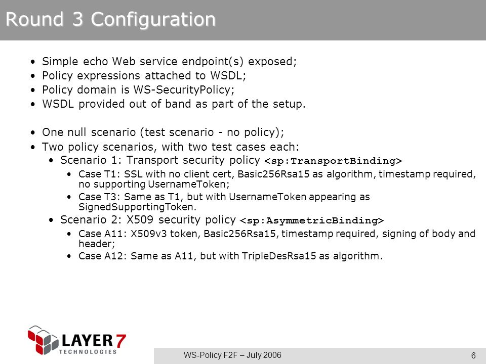 WS-Policy F2F – July 2006 6 Round 3 Configuration Simple echo Web service endpoint(s) exposed; Policy expressions attached to WSDL; Policy domain is WS-SecurityPolicy; WSDL provided out of band as part of the setup.