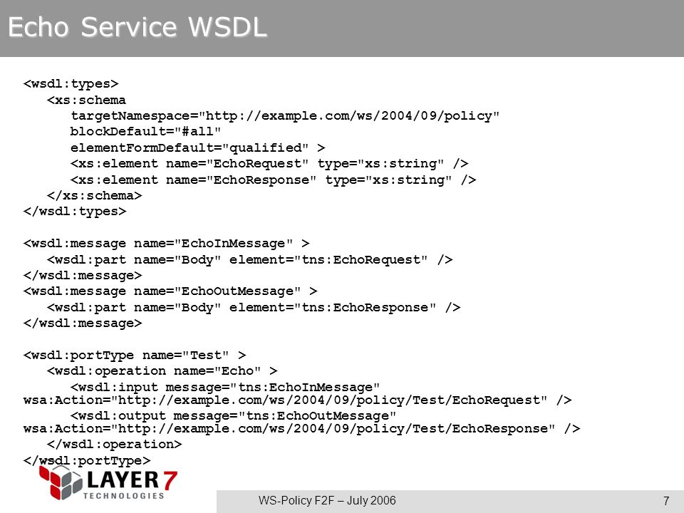 WS-Policy F2F – July 2006 7 Echo Service WSDL <xs:schema targetNamespace= http://example.com/ws/2004/09/policy blockDefault= #all elementFormDefault= qualified >