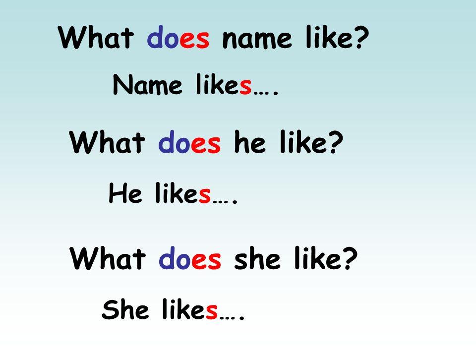 What does he like? He likes…. What does she like? She likes…. What does name like? Name likes….