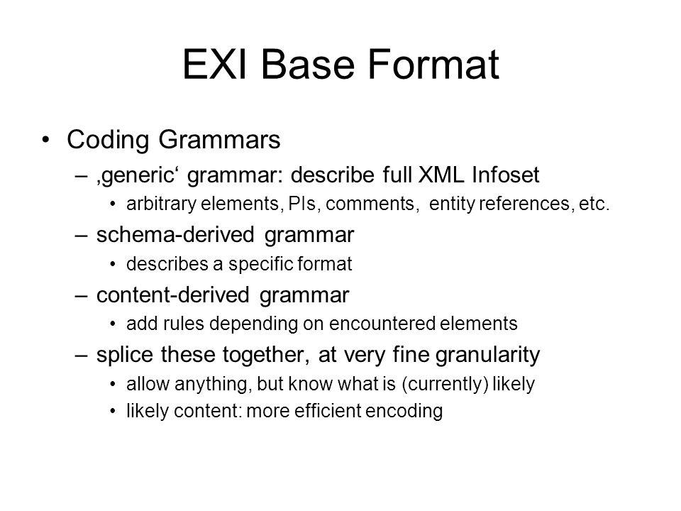 EXI Base Format Coding Grammars –generic grammar: describe full XML Infoset arbitrary elements, PIs, comments, entity references, etc. –schema-derived
