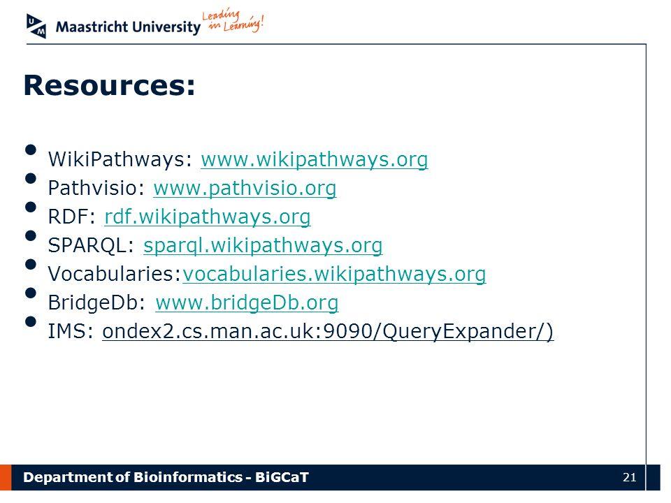 Department of Bioinformatics - BiGCaT 21 Resources: WikiPathways: www.wikipathways.orgwww.wikipathways.org Pathvisio: www.pathvisio.orgwww.pathvisio.o