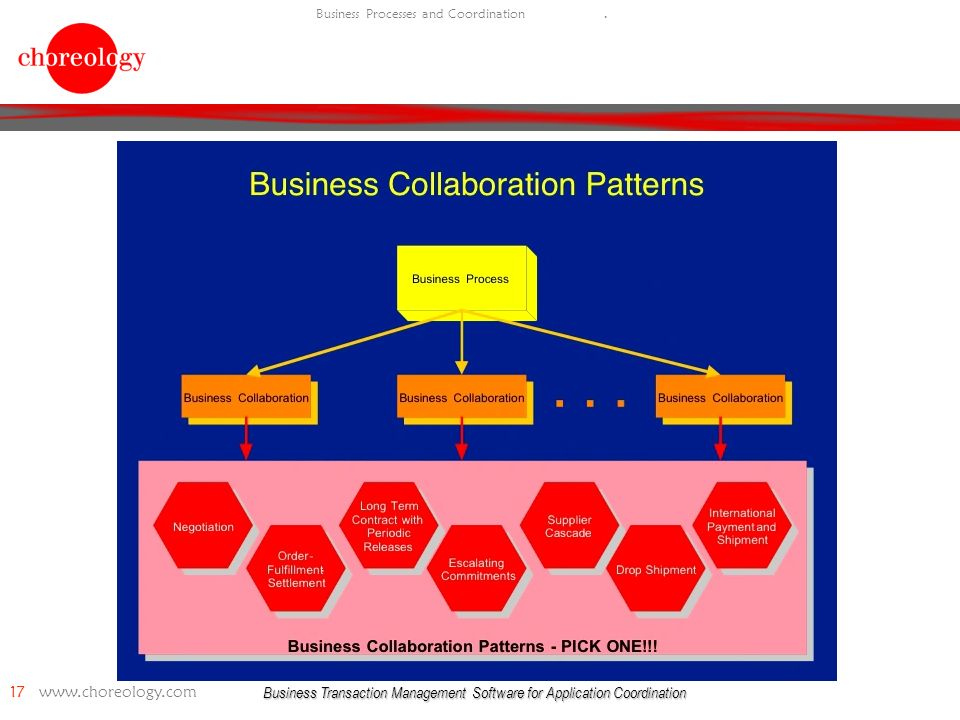 Business Transaction Management Software for Application Coordination 17 www.choreology.com Business Processes and Coordination.