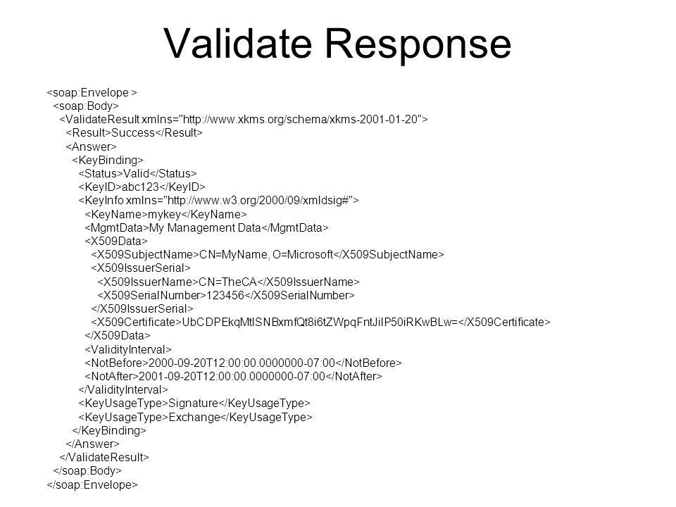 Validate Response Success Valid abc123 mykey My Management Data CN=MyName, O=Microsoft CN=TheCA 123456 UbCDPEkqMtlSNBxmfQt8i6tZWpqFntJilP50iRKwBLw= 2000-09-20T12:00:00.0000000-07:00 2001-09-20T12:00:00.0000000-07:00 Signature Exchange