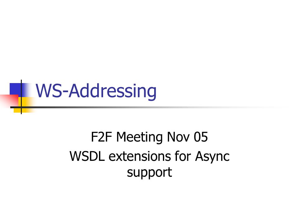 WS-Addressing F2F Meeting Nov 05 WSDL extensions for Async support