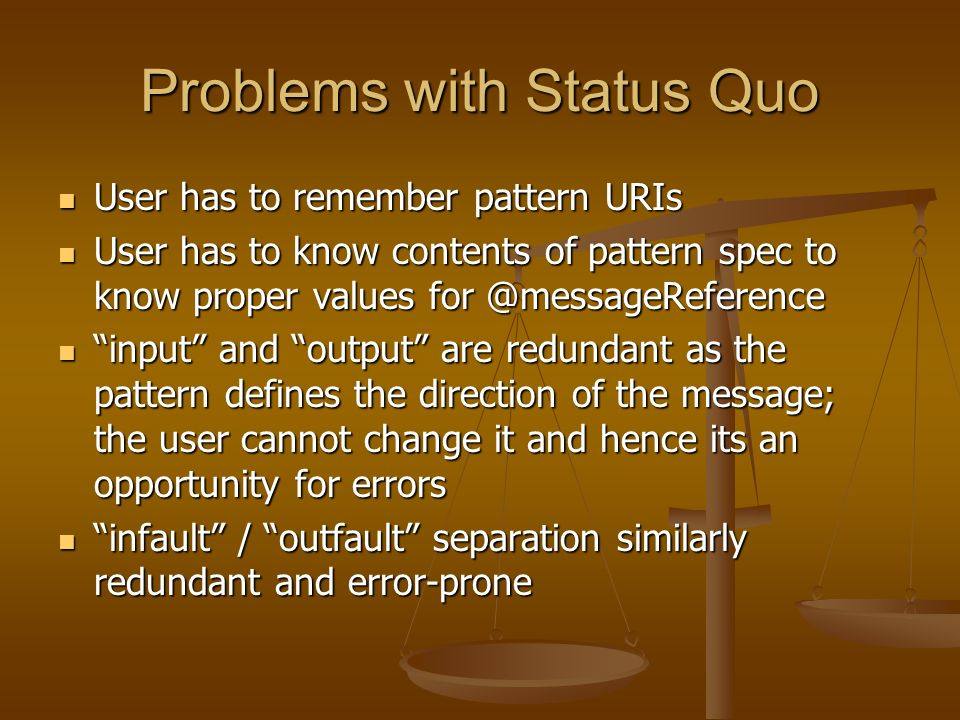Problems with Status Quo User has to remember pattern URIs User has to remember pattern URIs User has to know contents of pattern spec to know proper values for @messageReference User has to know contents of pattern spec to know proper values for @messageReference input and output are redundant as the pattern defines the direction of the message; the user cannot change it and hence its an opportunity for errors input and output are redundant as the pattern defines the direction of the message; the user cannot change it and hence its an opportunity for errors infault / outfault separation similarly redundant and error-prone infault / outfault separation similarly redundant and error-prone
