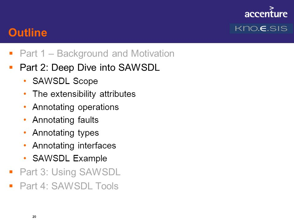 20 Outline Part 1 – Background and Motivation Part 2: Deep Dive into SAWSDL SAWSDL Scope The extensibility attributes Annotating operations Annotating