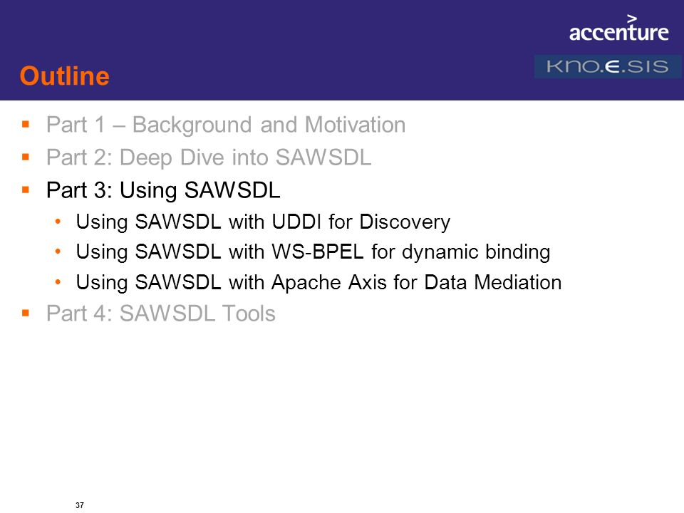 37 Outline Part 1 – Background and Motivation Part 2: Deep Dive into SAWSDL Part 3: Using SAWSDL Using SAWSDL with UDDI for Discovery Using SAWSDL wit